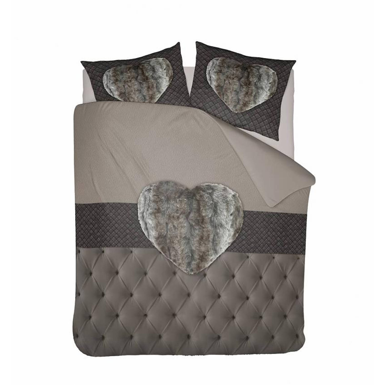 Nightlife Dekbedovertrek Fur Heart Taupe 140x200 220