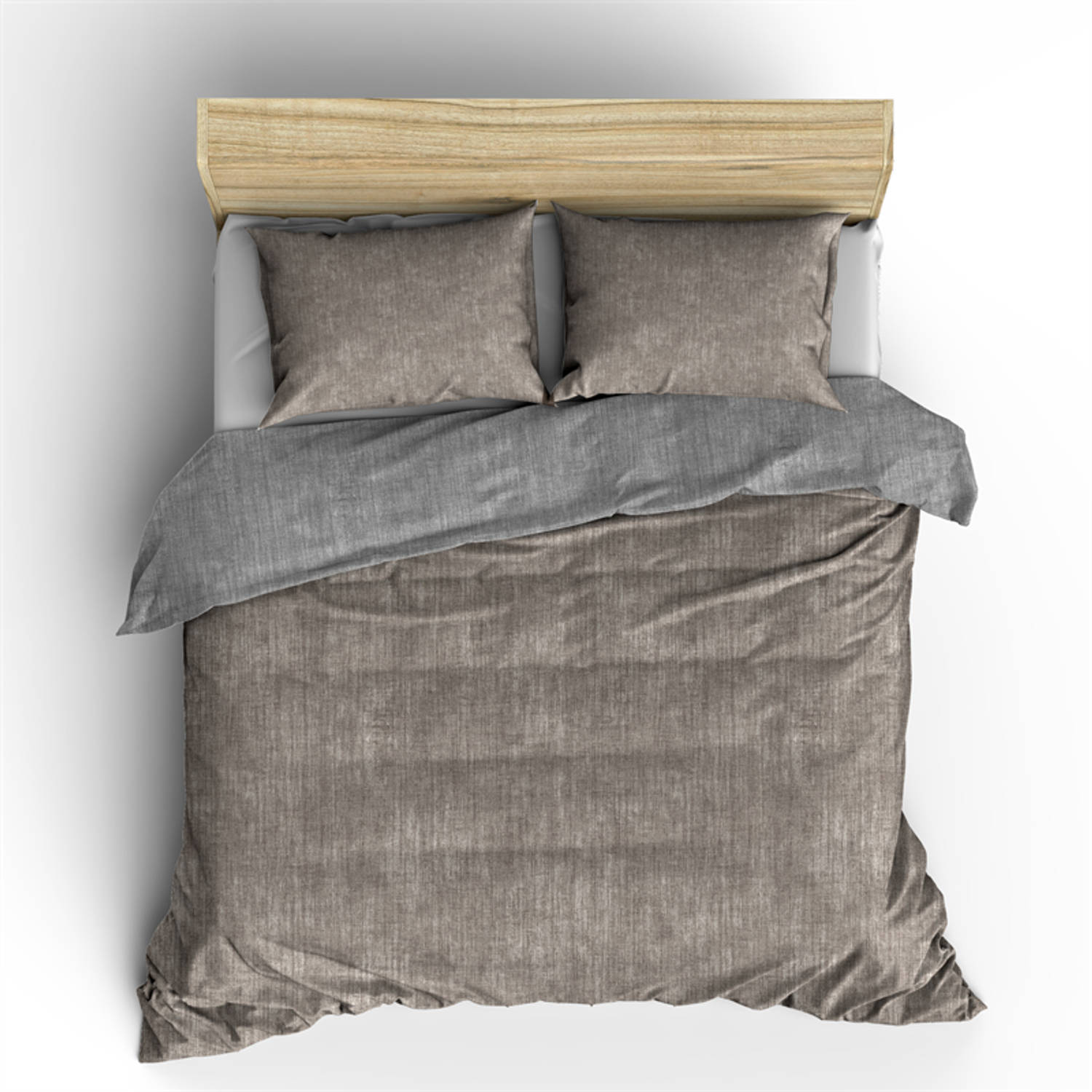 Nightlife dekbedovertrek washcotton taupe/grey-240x200/220