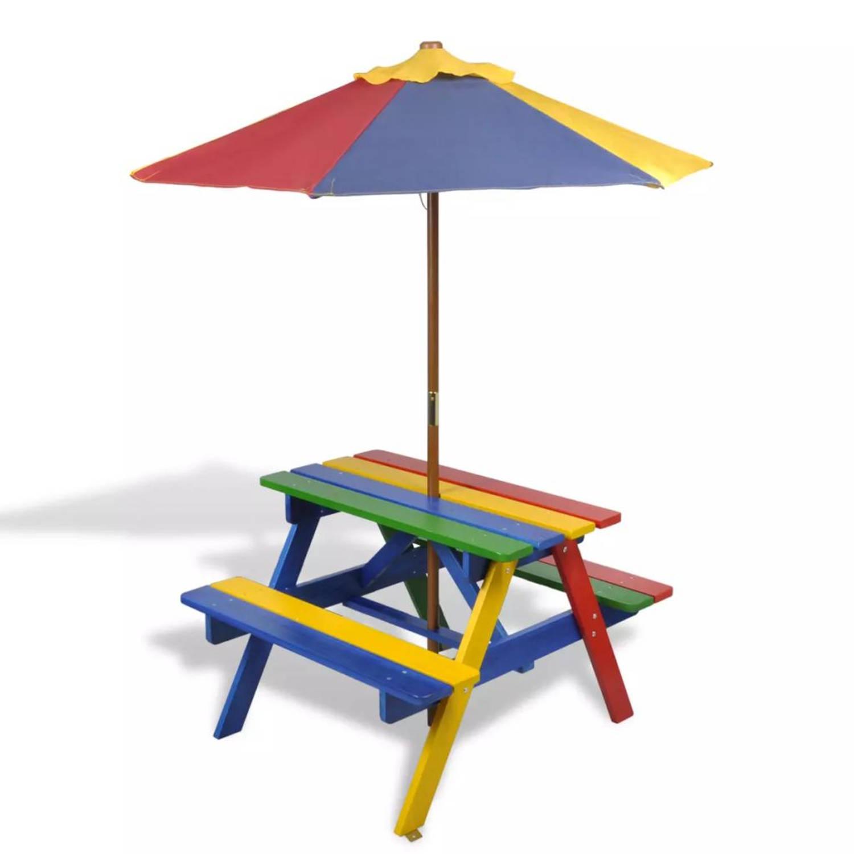 4-kleurige kinderpicknicktafel met bankjes en parasol