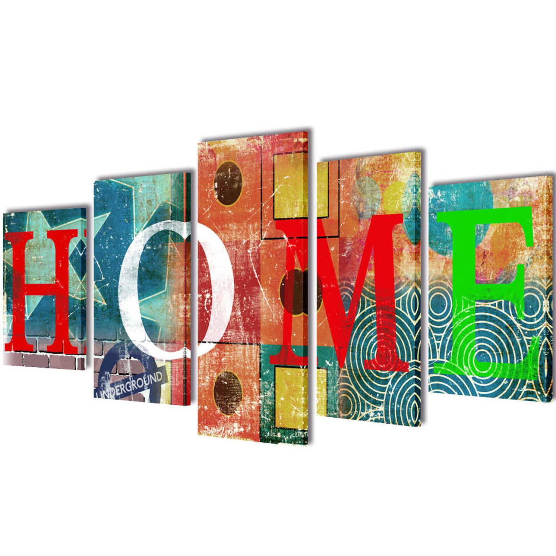 Image of Canvasdoeken kleurrijk huis 100 x 50 cm