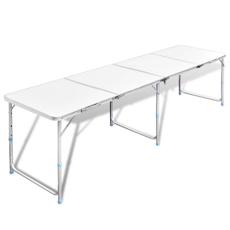 Campingtafel inklapbaar en verstelbaar in hoogte aluminium 240 x 60 cm
