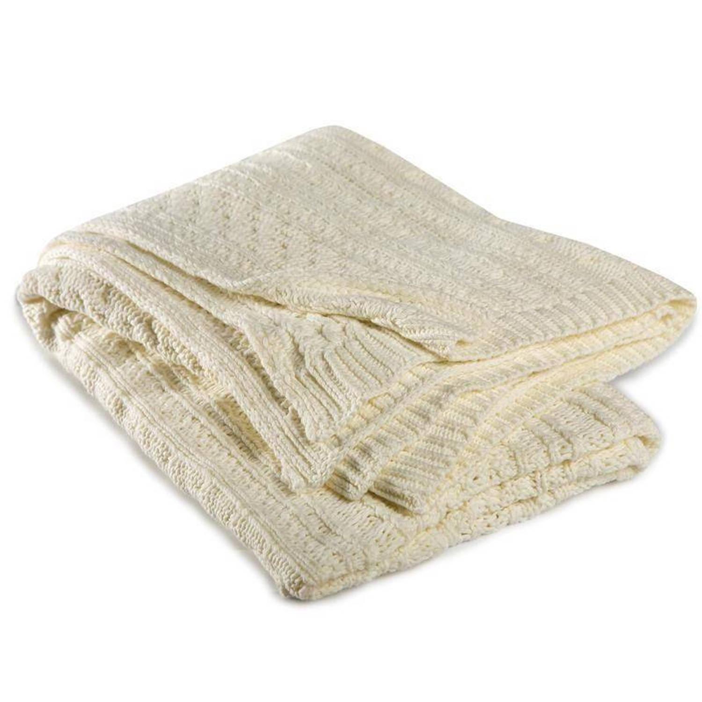 Cinderella Chamonix plaid - 100% katoen - 130x170 cm - Wit, Wool white