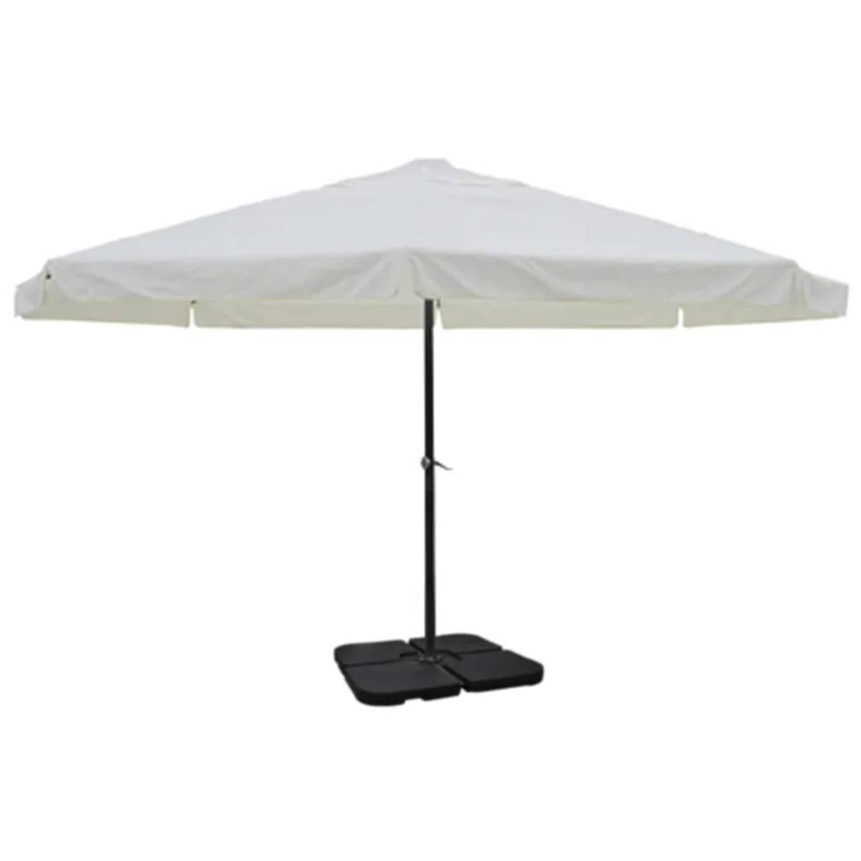 Parasol met draagbare voet aluminium wit