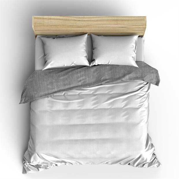 Nightlife Dekbedovertrek Washcotton White/Grey-200x200/220