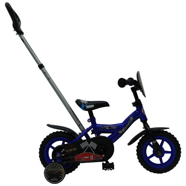 Yipeeh Power fiets met duwstang - 10 inch - blauw