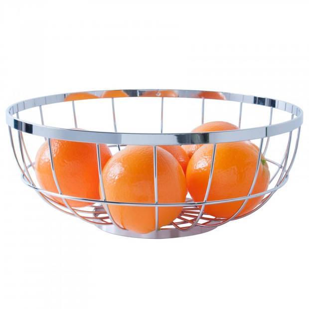 PT fruitschaal - open draadstructuur - ø 28 cm - zilverkleurig