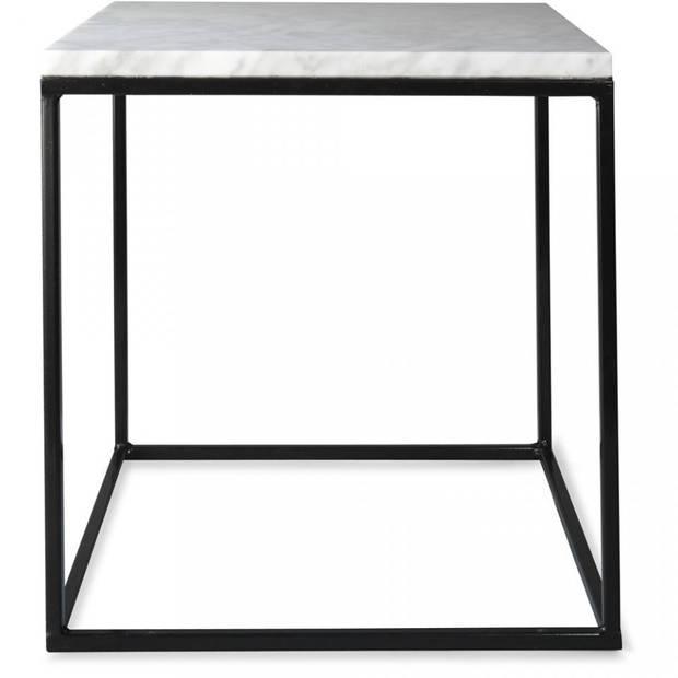 Marmeren tafel set met zwarte poten - 33 x 33 x 33 cm - marmer - metaal - zwart/wit