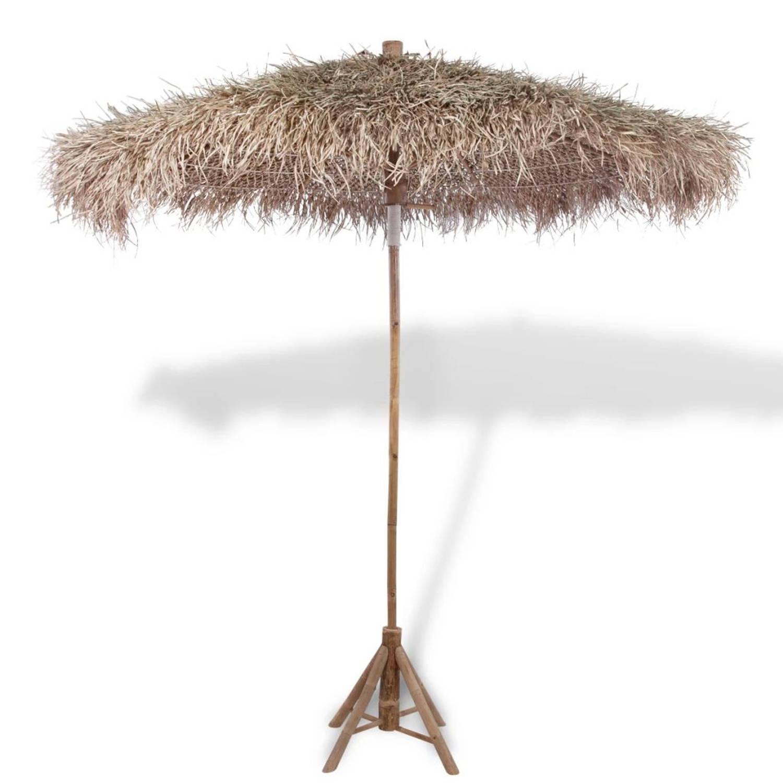 Parasol bamboe met dak van bananenbladeren 270 cm