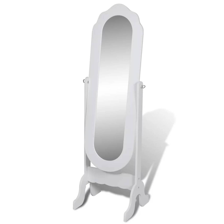 Vrijstaande kantelbare spiegel (wit)