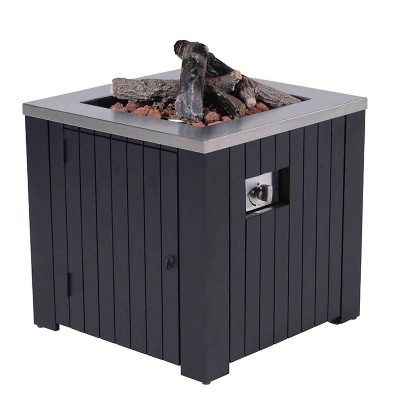 Cozy Living sfeerhaard Algiers mat zwart aluminium - 80x80 cm