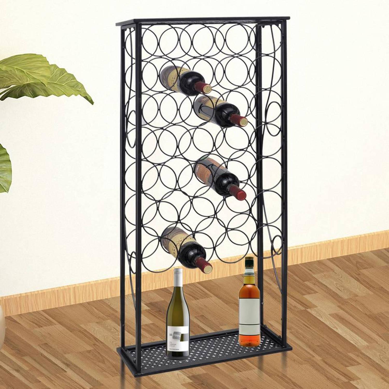 Metalen wijnrek staand (28 flessen) met plank (Niet leverbaar in Belgi