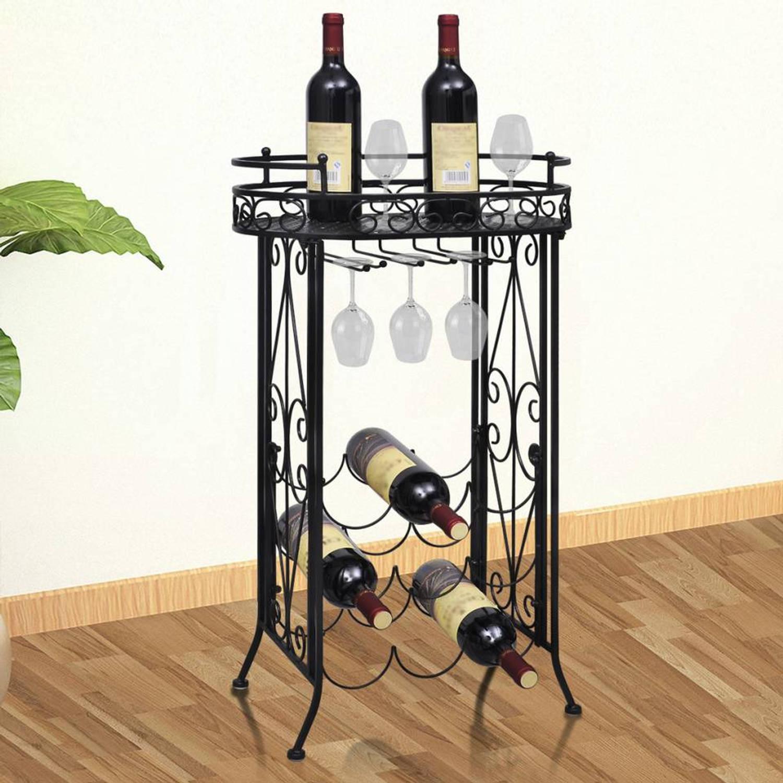 Staand wijnrek tafelmodel met haken (9 flessen)