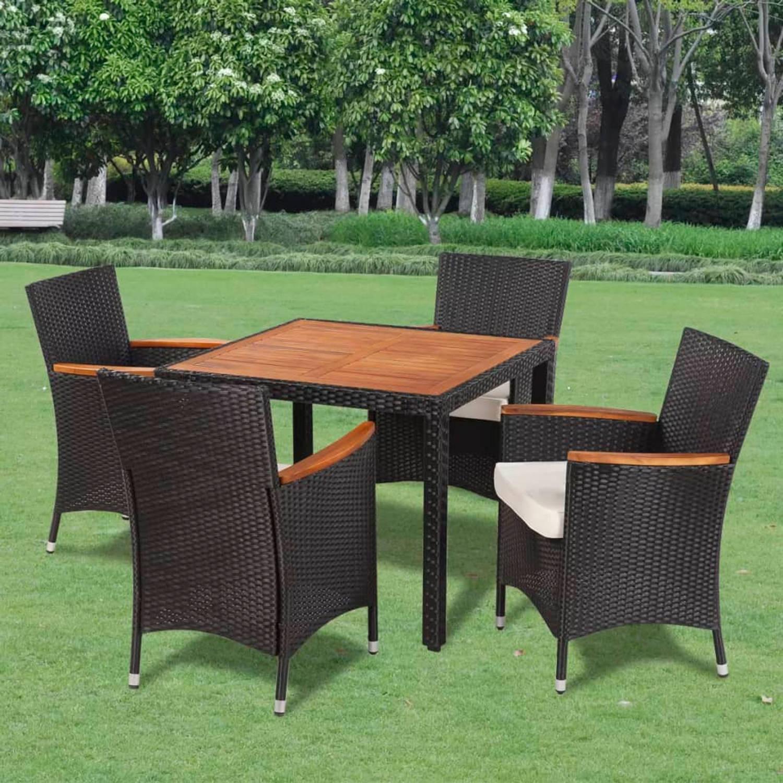 vidaXL Poly Rattan tuinstoelenset met 4 stoelen en een tafel