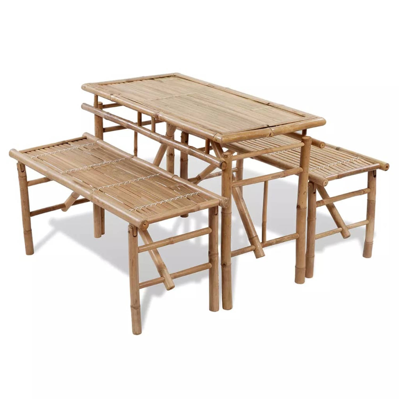 Vidaxl Picknick Tafel Set Inklapbaar Bamboe 3-delig