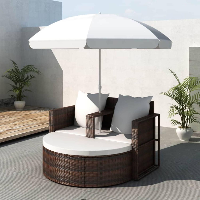 Poly Rattan Loungebed Set Met Parasol Bruin