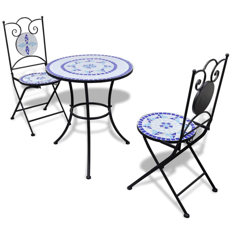 vidaXL Moza�ektafel 60 cm met twee stoelen blauw-wit