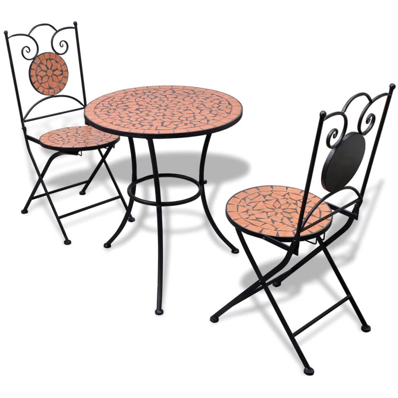 vidaXL Moza�ektafel 60 cm met twee stoelen terracotta