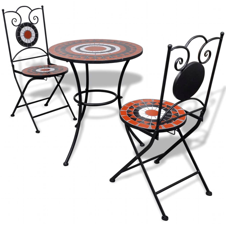 vidaXL Moza�ektafel 60 cm met twee stoelen terracotta-wit