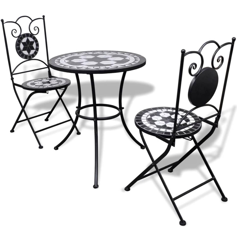 vidaXL Moza�ektafel 60 cm met twee stoelen zwart-wit