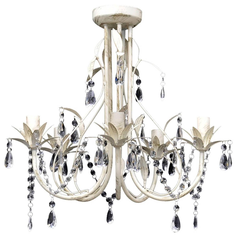 Kristallen kroonluchter met wit elegant design (5 lampen)