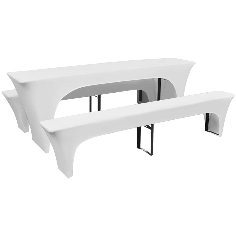 vidaXL Hoezen voor biertafel en banken stretch wit 3 stuks 220 x 70 80 cm