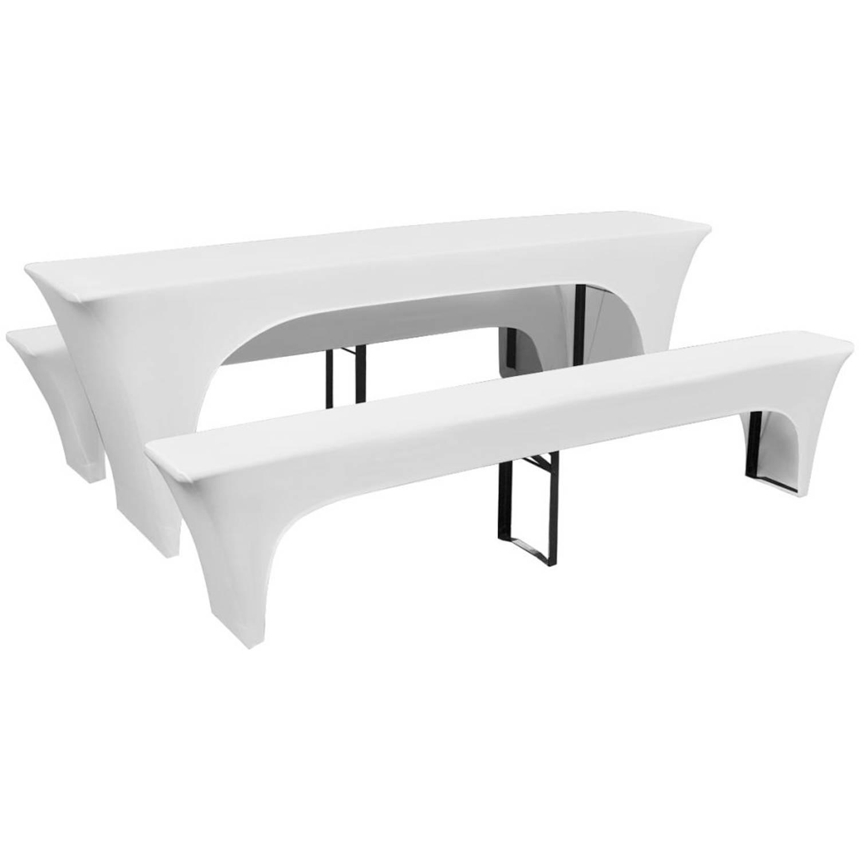 vidaXL Hoezen voor biertafel en banken stretch wit 3 stuks 225 x 50 80 cm
