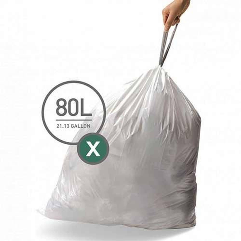 Afvalzakken code x, 80 liter, 50 stuks - simplehuman