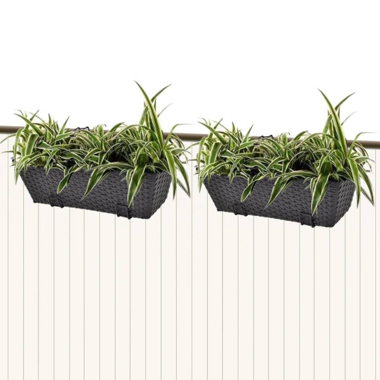 Vidaxl trapezium balkon plantenbak 50 cm rattan zwart 2 st | Blokker