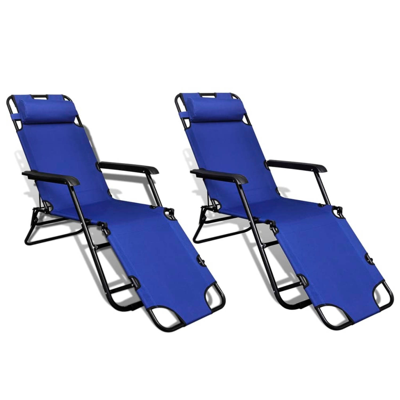 vidaXL Ligbed met voetensteun inklapbaar en verstelbaar blauw 2 st
