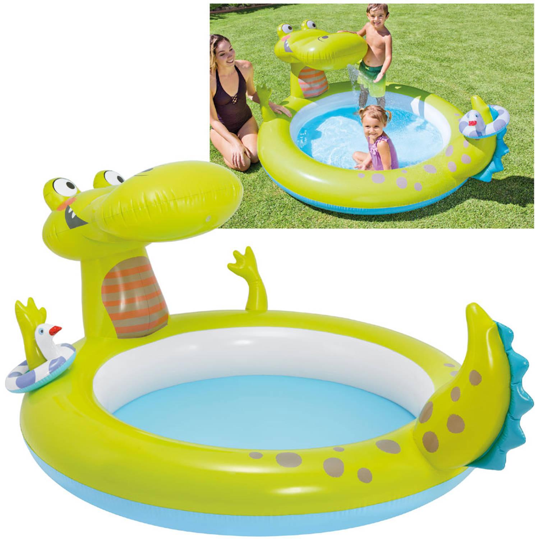 Intex krokodil zwembad groen blokker for Intex zwembad baby