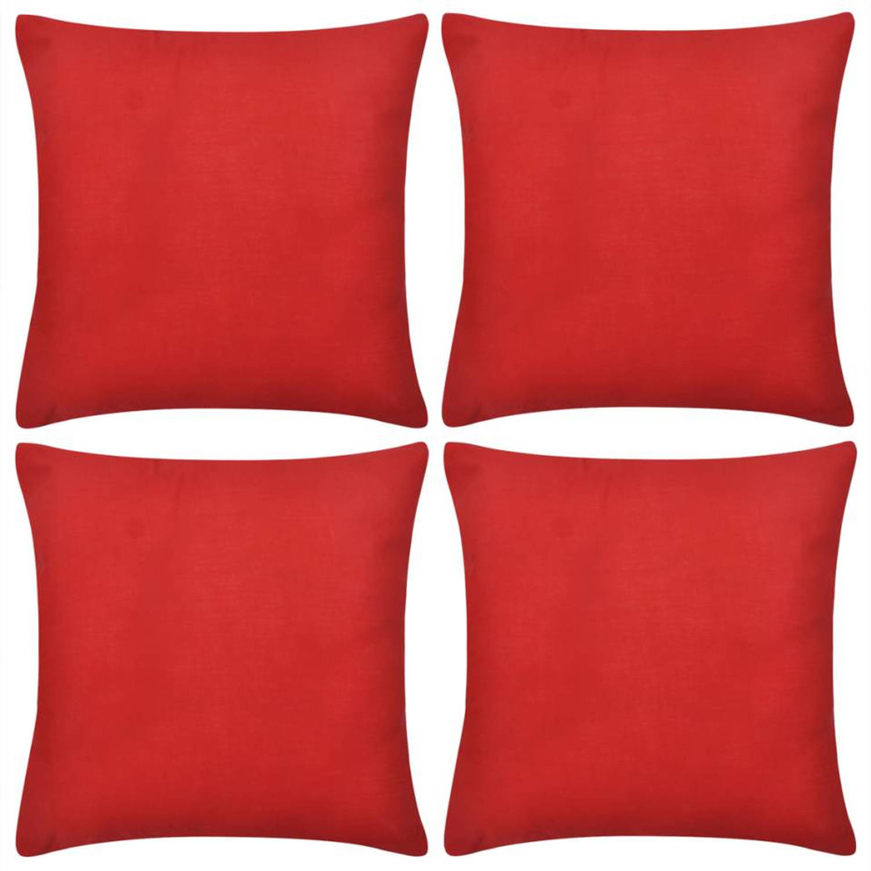 Kussenhoezen katoen 80 x 80 cm rood 4 stuks