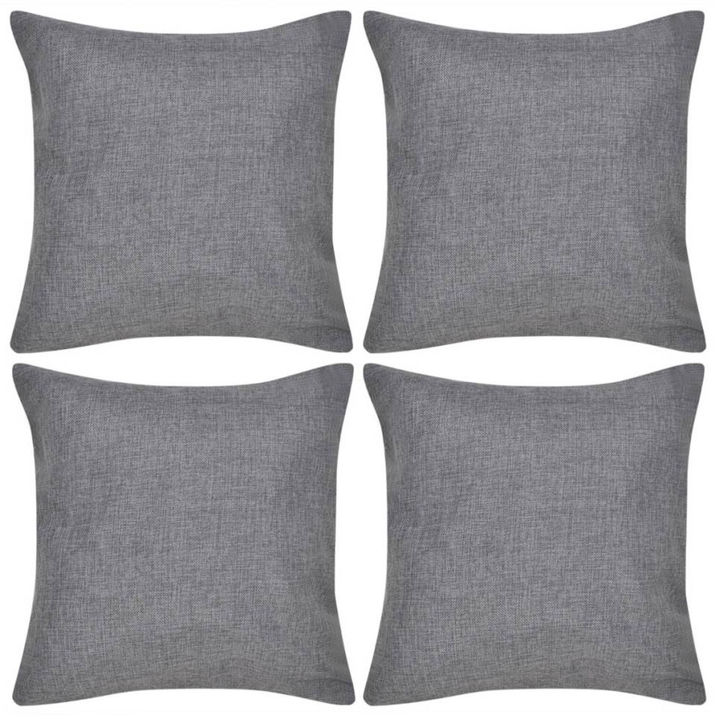 Kussenhoezen linnen look 40 x 40 cm antraciet 4 stuks