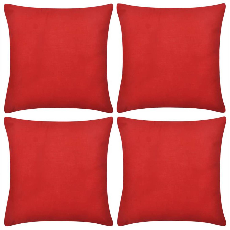 Kussenhoezen katoen 40 x 40 cm rood 4 stuks