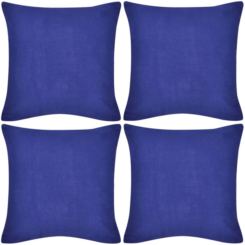 Kussenhoezen katoen 50 x 50 cm blauw 4 stuks