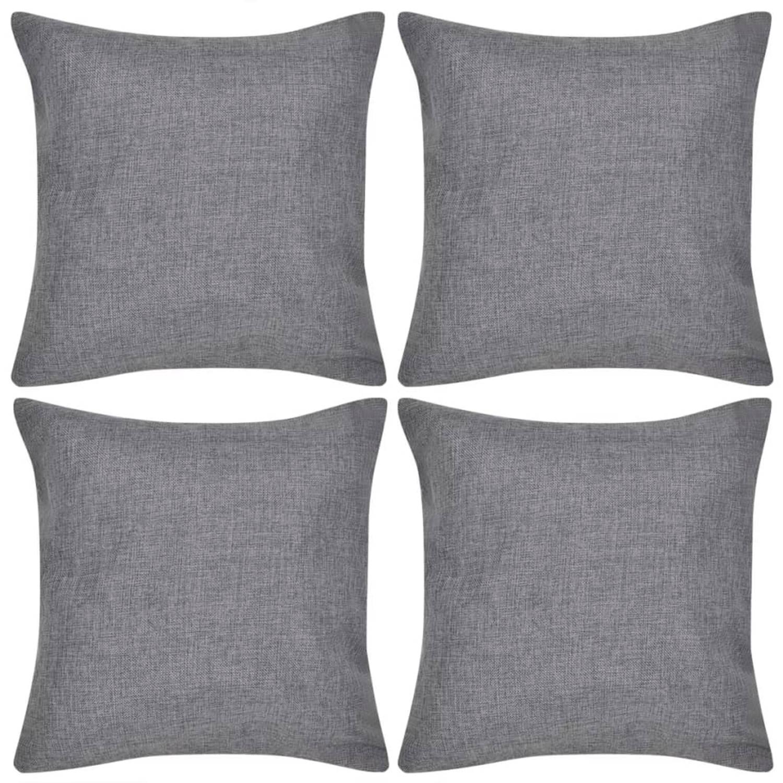 vidaXL Kussenhoezen linnen look 80 x 80 cm antraciet 4 stuks