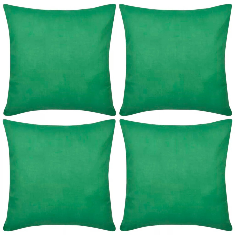 Kussenhoezen katoen 50 x 50 cm groen 4 stuks