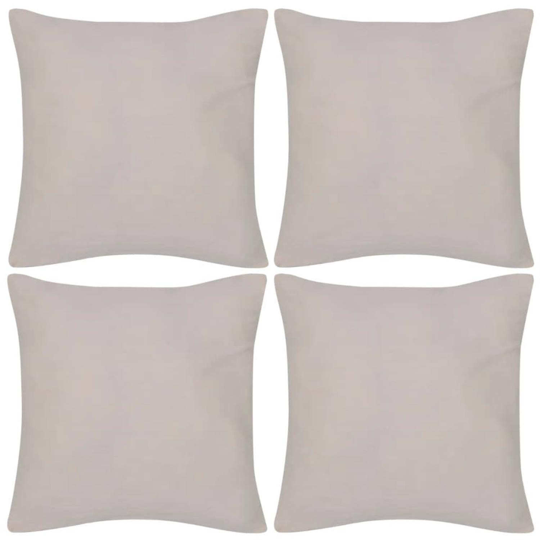 Kussenhoezen katoen 40 x 40 cm beige 4 stuks