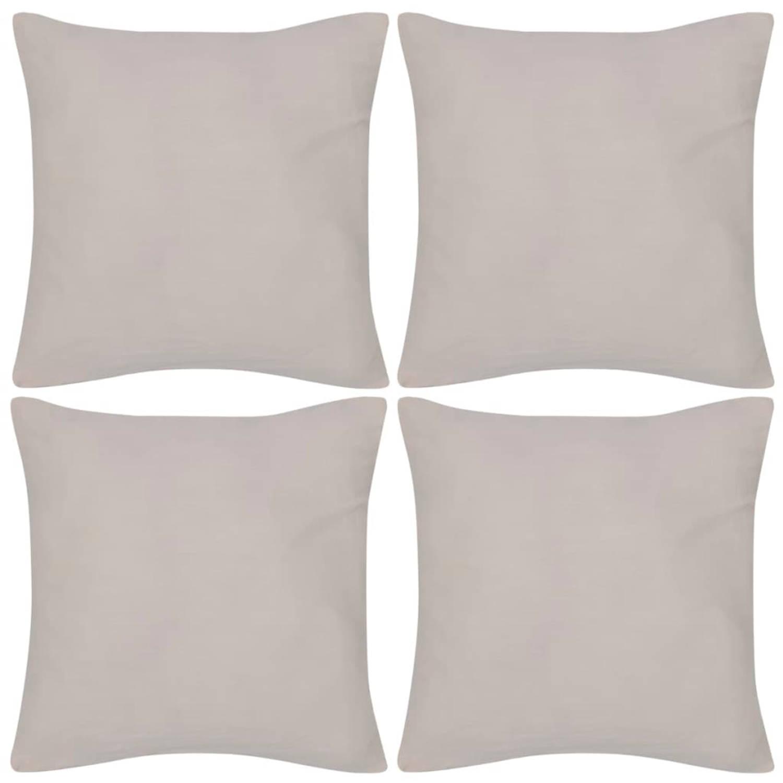 Kussenhoezen katoen 80 x 80 cm beige 4 stuks