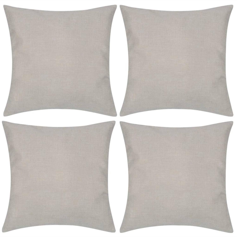 Kussenhoezen linnen look 80 x 80 cm beige 4 stuks