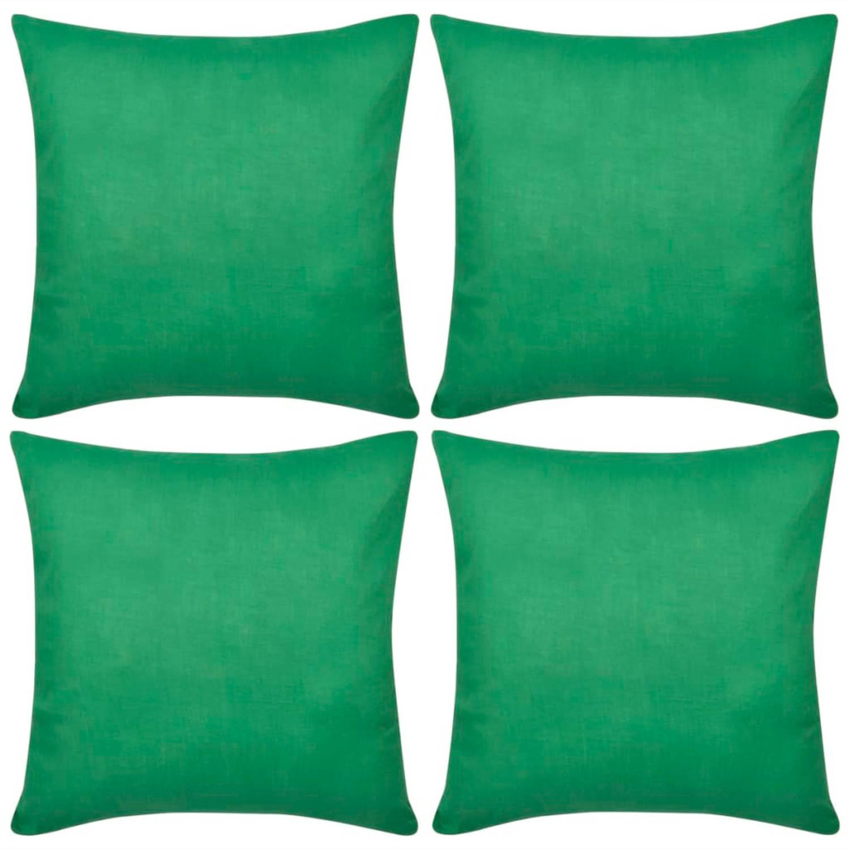 Kussenhoezen katoen 80 x 80 cm groen 4 stuks