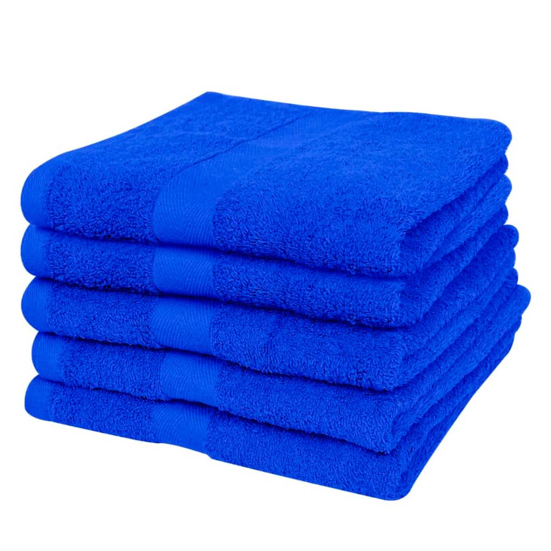 vidaXL Badhanddoekenset 500 gsm 100x150 cm katoen koningsblauw 5 delig