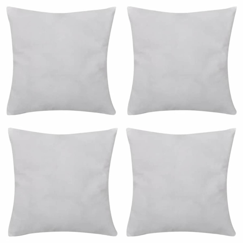 Kussenhoezen katoen 50 x 50 cm wit 4 stuks
