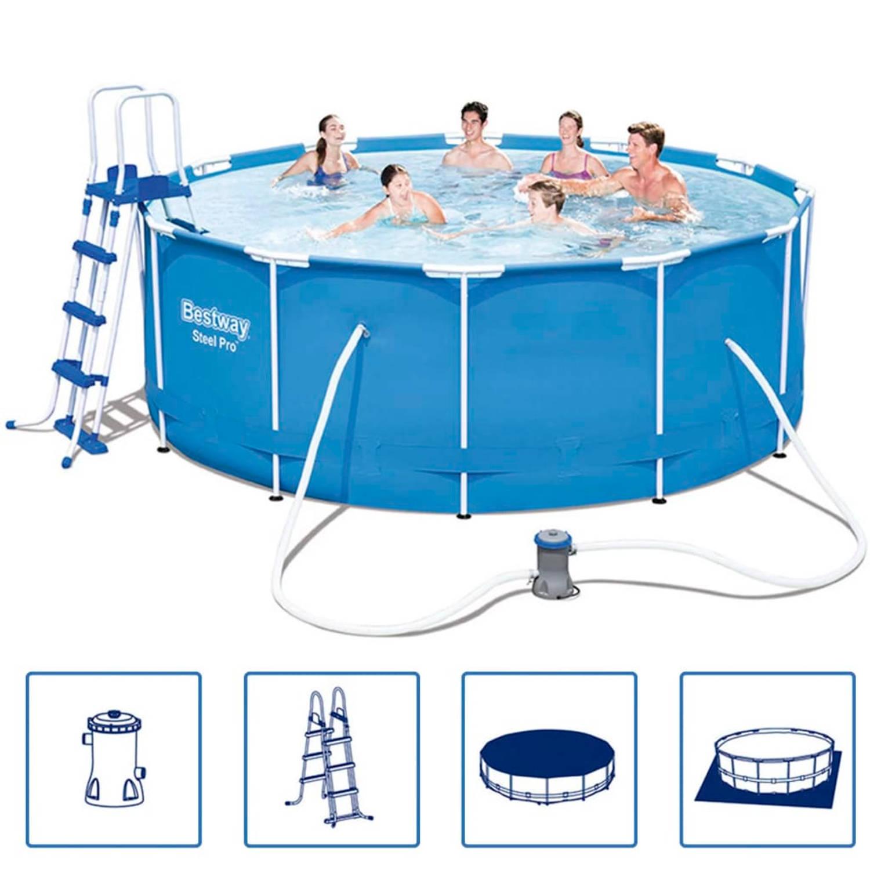 Bestway steel pro zwembad stalen frame rond 366x122 cm for Blokker zwembad