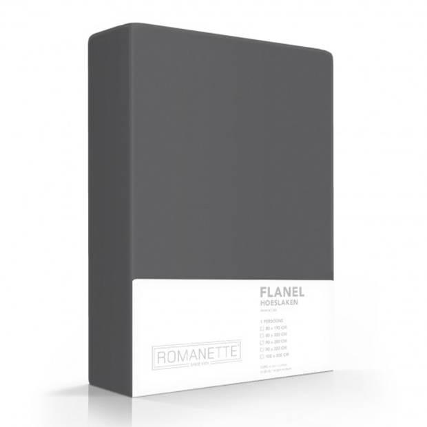 Flanellen Hoeslaken Antraciet Romanette-180 x 200 cm