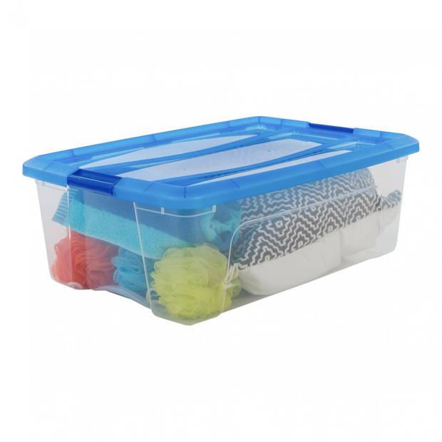Iris Topbox met klemgreep - 30 liter - transparant/blauw