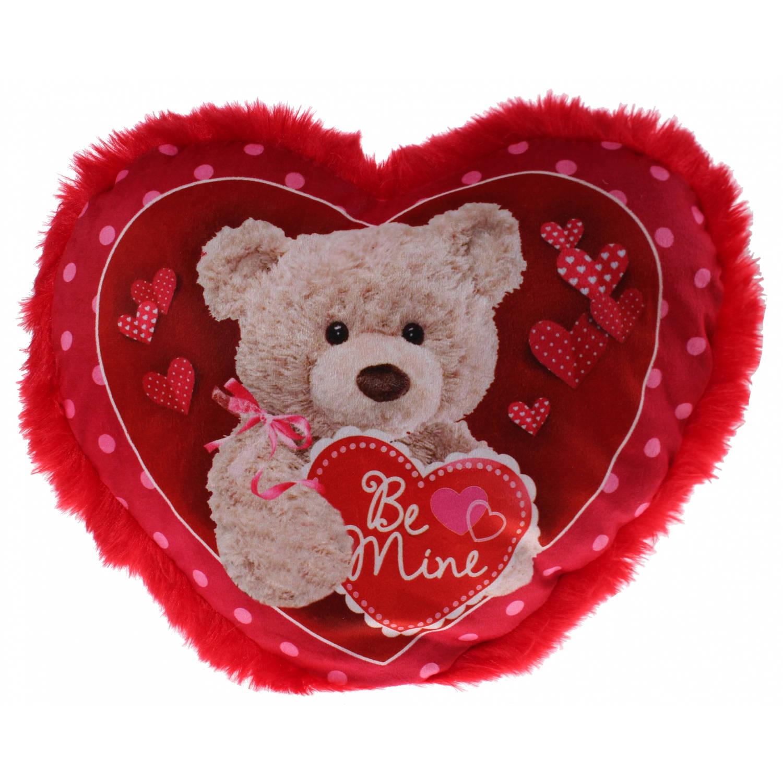Eddy Toys hartjes kussen beer 30 cm rood