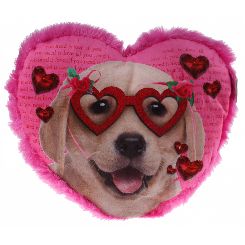 Eddy Toys hartjes kussen hond met bril 30 cm roze