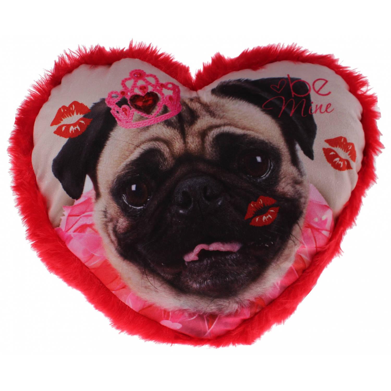 Eddy Toys hartjes kussen hond 30 cm rood