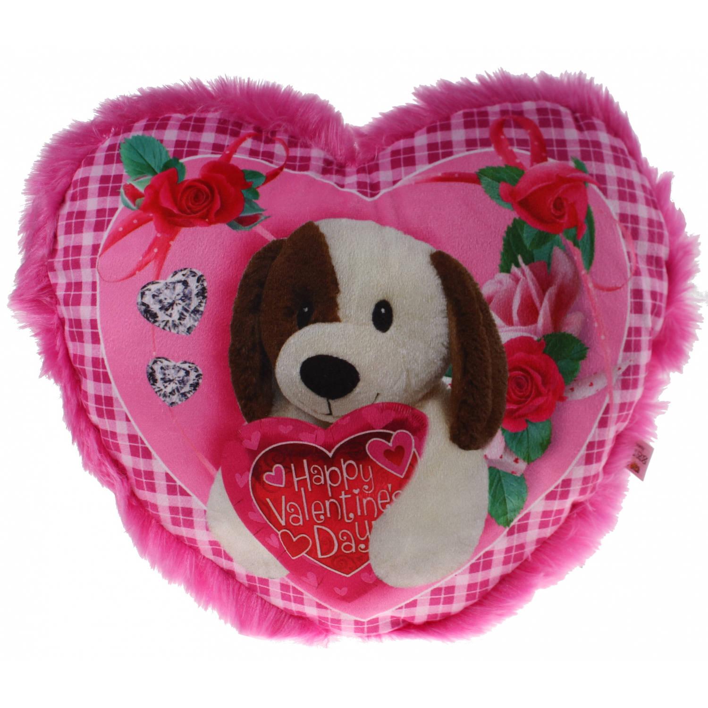 Eddy Toys hartjes kussen hond 30 cm roze