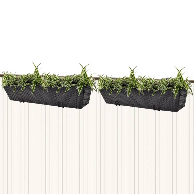 vidaxl trapezium balkon plantenbak 80 cm rattan zwart 2 st blokker. Black Bedroom Furniture Sets. Home Design Ideas